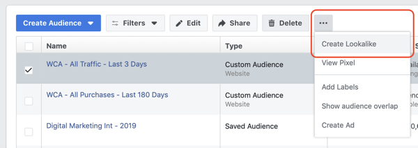 Create the Facebook lookalike audience custom website visitors, step 2.