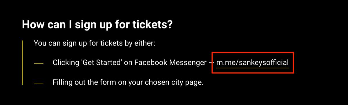 Facebook Messenger bot link on website.