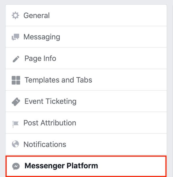 Submit to Facebook Messenger Discover tab, step 1.