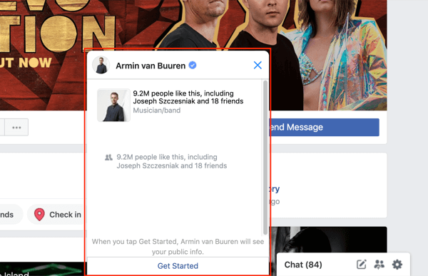 Facebook Messenger chat window example.