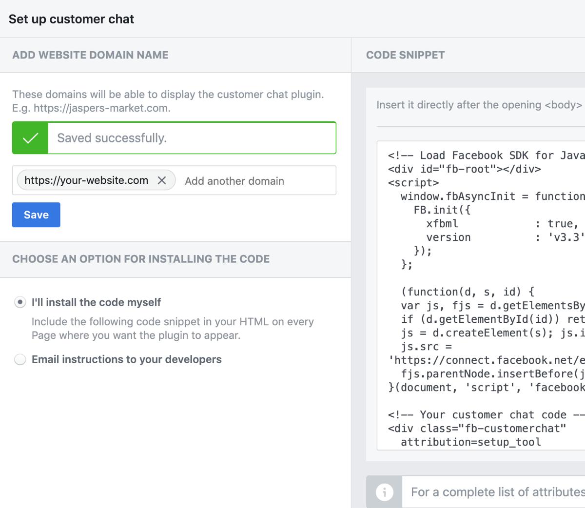 Set up Facebook Customer Chat, step 4.