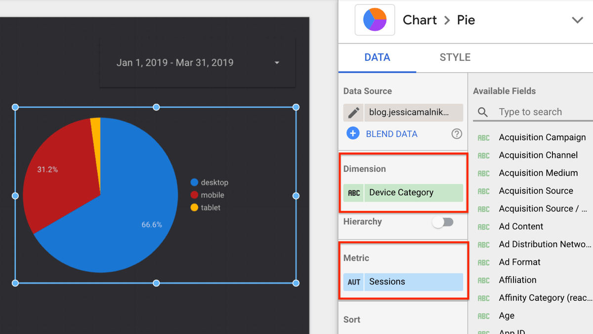 Use Google Data Studio, step 21.