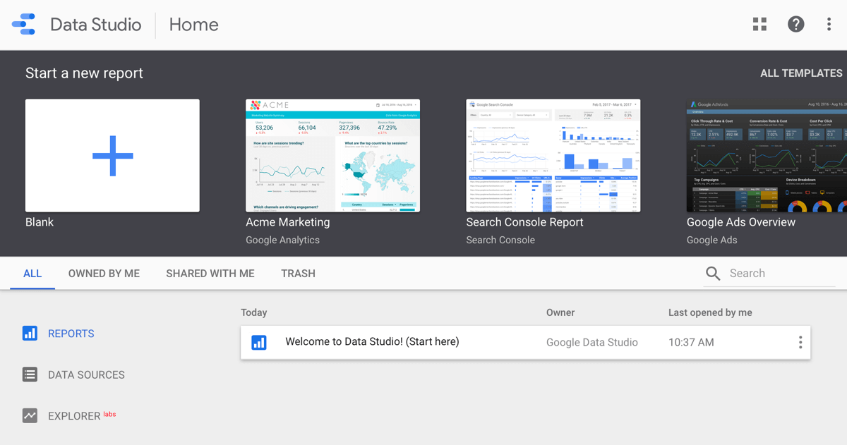 Use Google Data Studio, step 1.