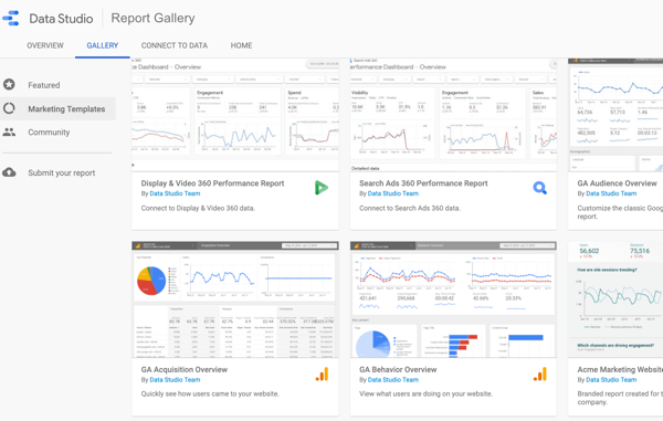 Use Google Data Studio, step 2.