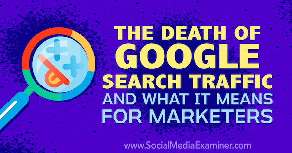 The Death of Google Search Traffic and What It Means for Marketers featuring thoughts by Michael Stelzner, founder of Social Media Examiner.