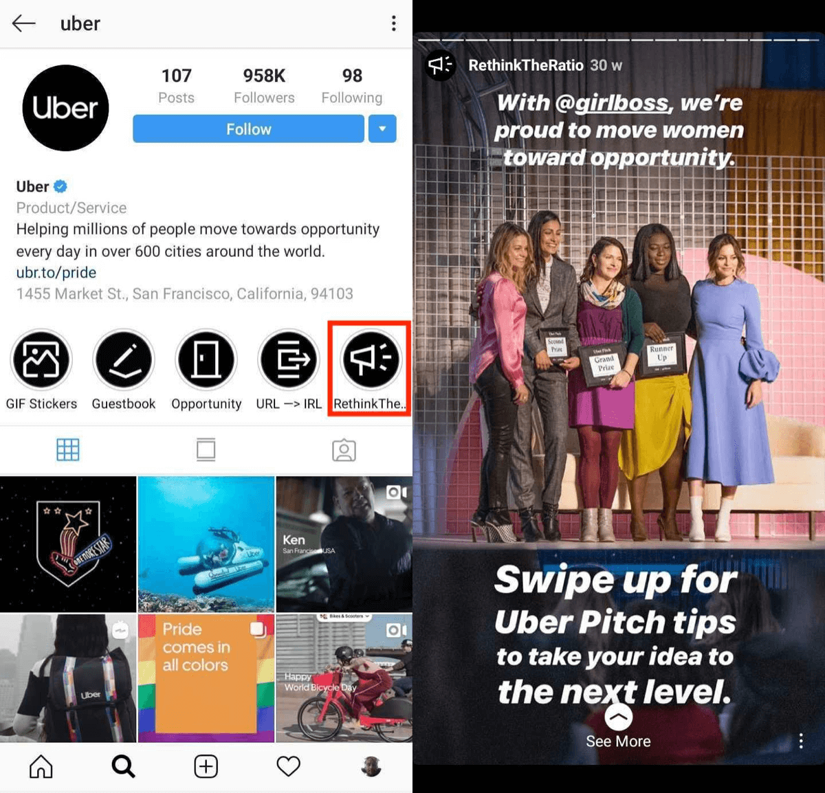 Instagram Story Highlights example.