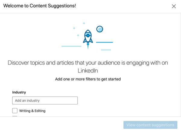 LinkedIn Page content suggestions set up.