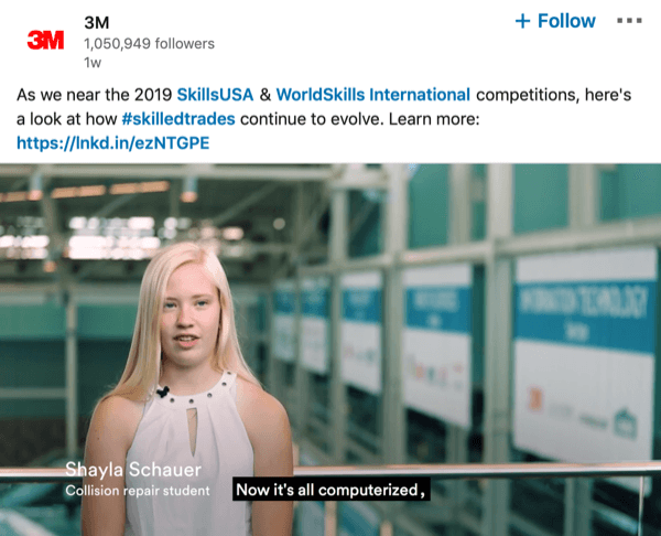 LinkedIn Page video with subtitles.