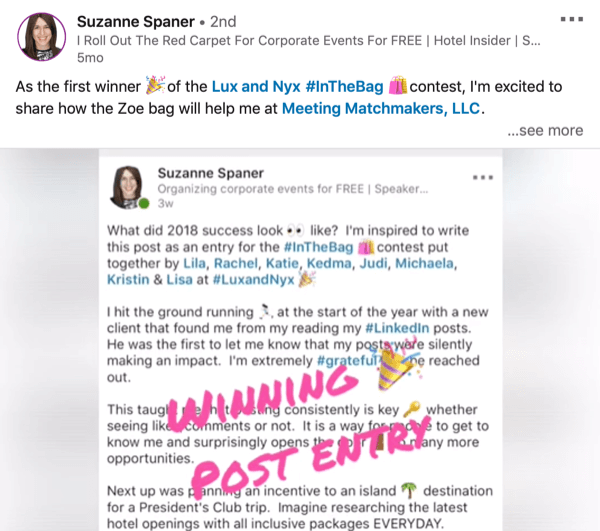 LinkedIn post with a campaign hashtag example.