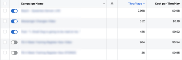 Facebook ThruPlay Optimization metrics, step 4.