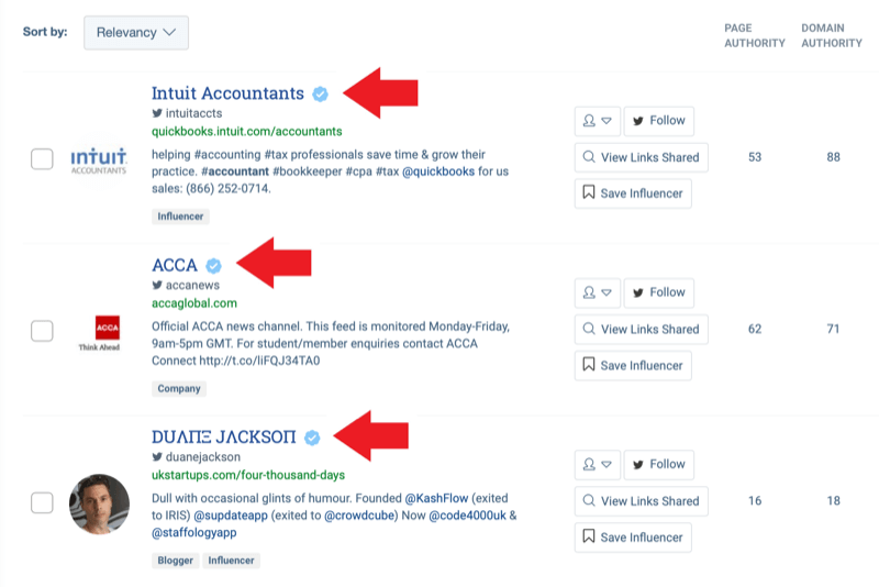Social media marketing strategy; Screenshot of search results from BuzzSumo's influencer identification tool after entering the keyword 'accounting.'
