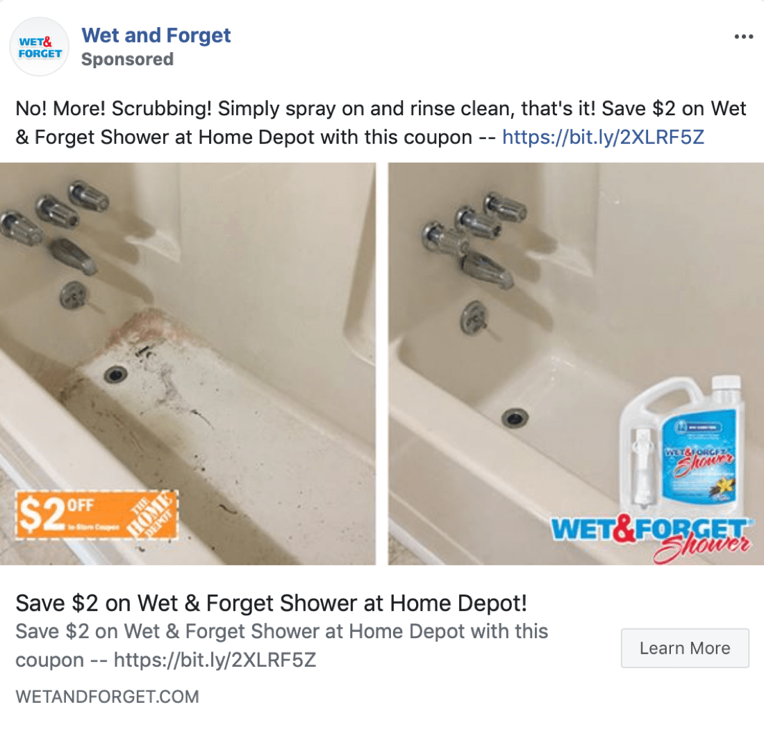 Better Facebook ad copy using a So That statement, example 1.