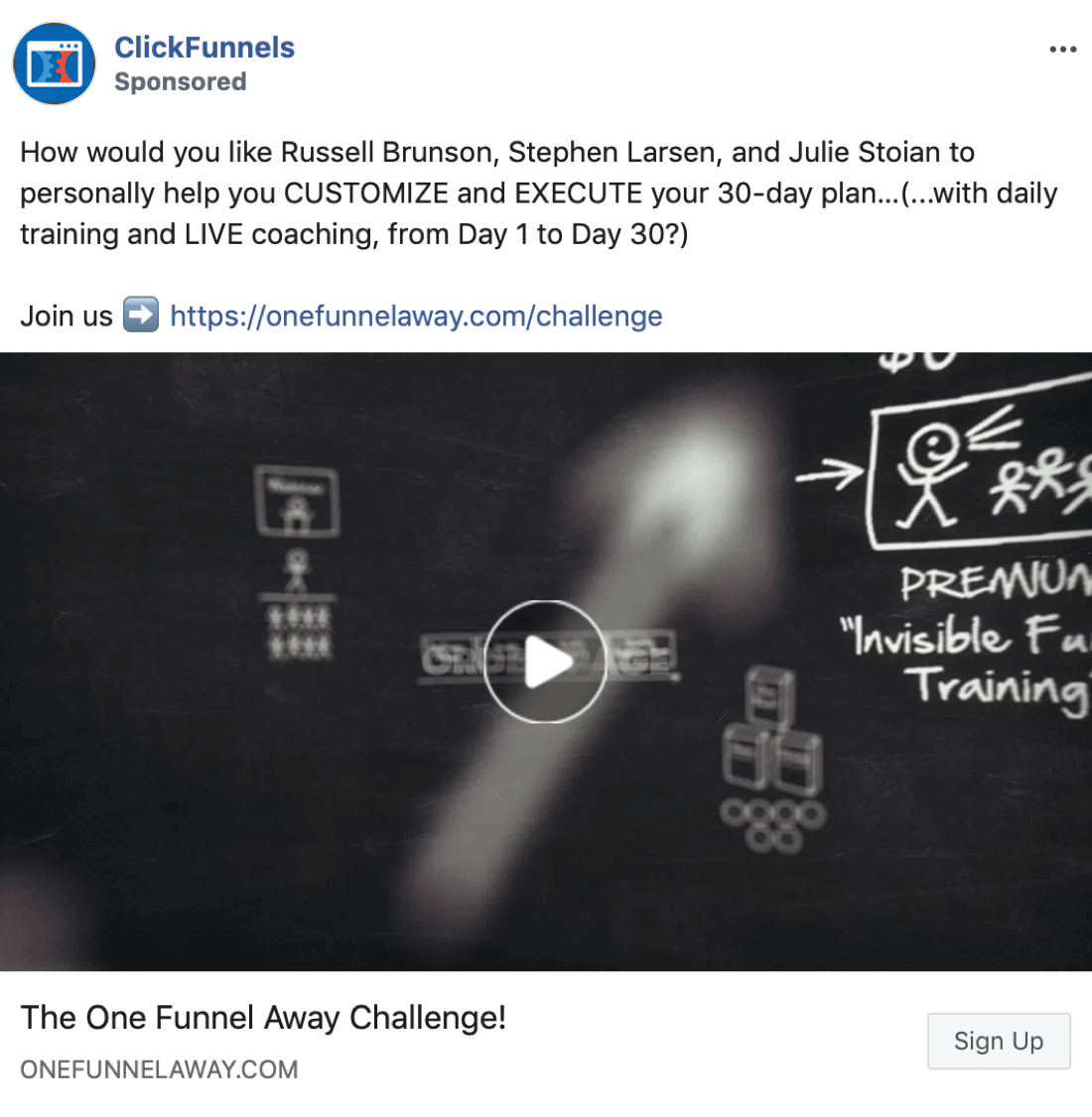 Facebook ad copy using an included URL, example 1.