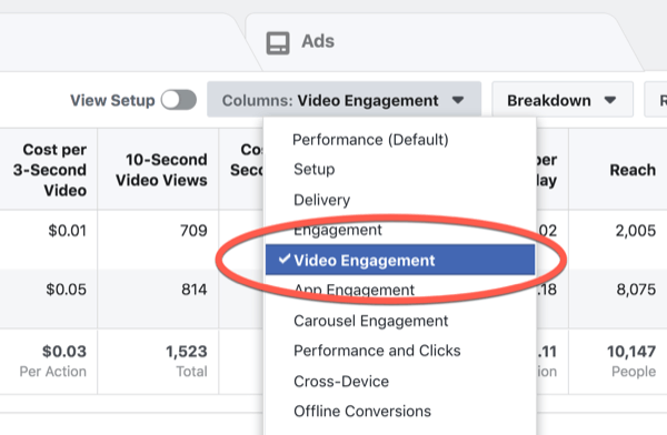 Facebook ThruPlay Optimization metrics, step 1.