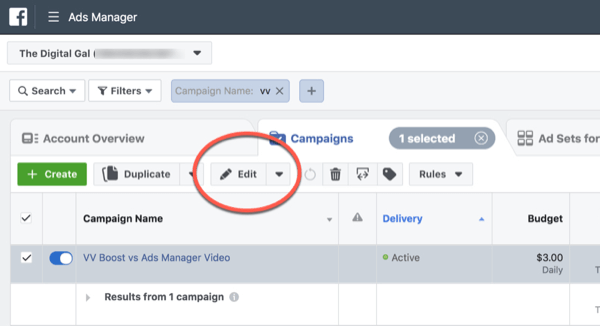 Facebook ThruPlay Optimization for 10-second views campaign edit, step 1.