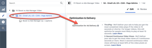 Facebook ThruPlay Optimization for 10-second views campaign edit, step 3.