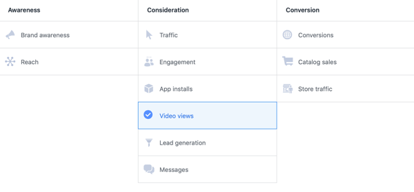 Facebook ThruPlay Optimization for video ads, step 1.