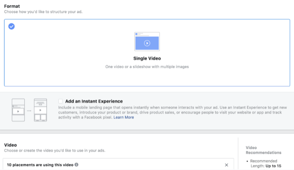 Facebook ThruPlay Optimization for video ads, step 4.