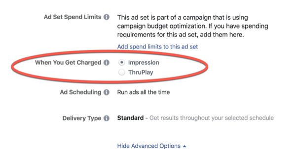 Facebook ThruPlay Optimization charges.