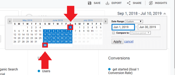 Social media marketing strategy; Screenshot of Google Analytics dates section where you can compare data from different date ranges.