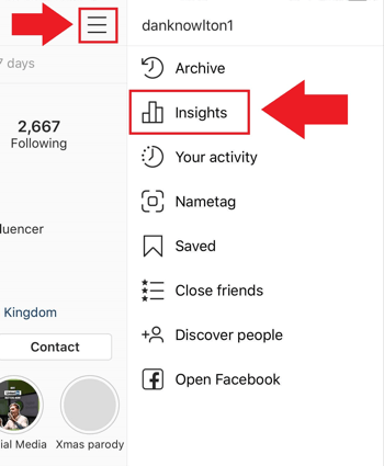 Social media marketing strategy; Screenshot of where to access Instagram Insights on the Instagram app.