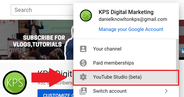 Social media marketing strategy; Screenshot of step 1 to access YouTube Analytics.