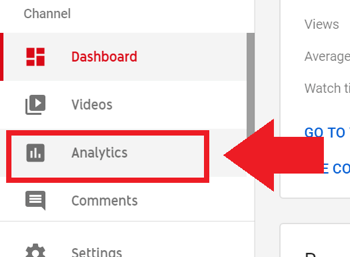 Social media marketing strategy; Screenshot of step 2 to access YouTube Analytics.