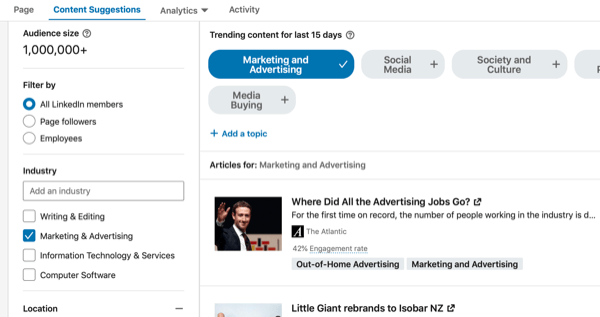 LinkedIn Content Suggestions, step 3.