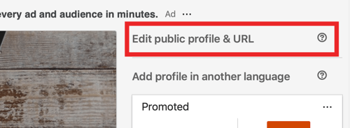 Edit your LinkedIn URL, step 1.