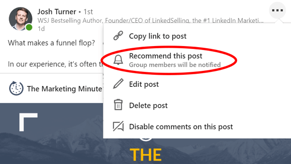Recommend a Group Post on LinkedIn, step 1.