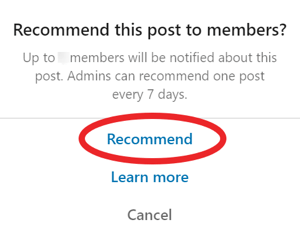 Recommend a Group Post on LinkedIn, step 2.