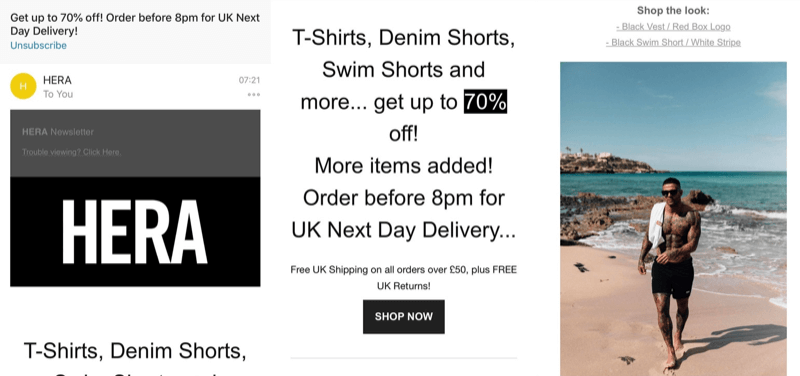 Social media marketing strategy; Screenshot of a great flash sale email marketing campaign from Hera London (fashion brand).