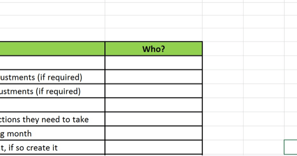 Social media marketing strategy; Screenshot of the 'who' column you can add to your implementation spreadsheet to delegate actions.