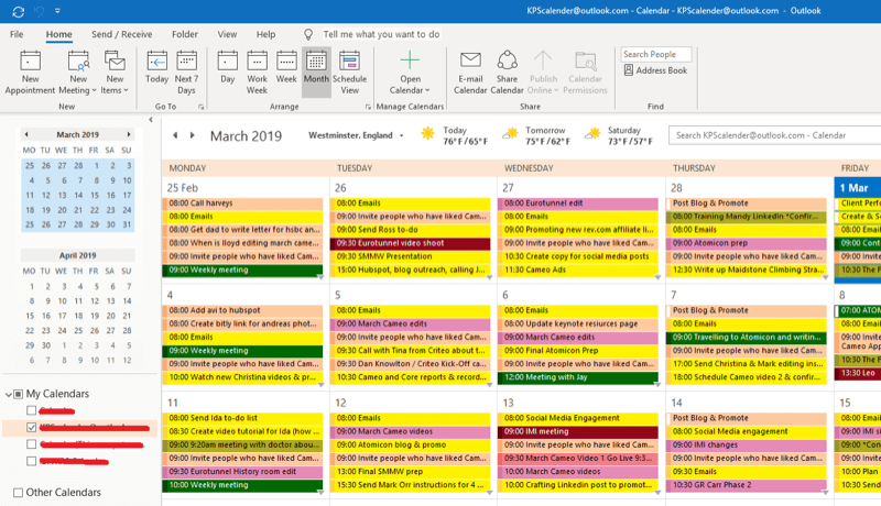 Social media marketing strategy; Screenshot of our outlook calendar to show how we schedule every implementation action to ensure it gets done.
