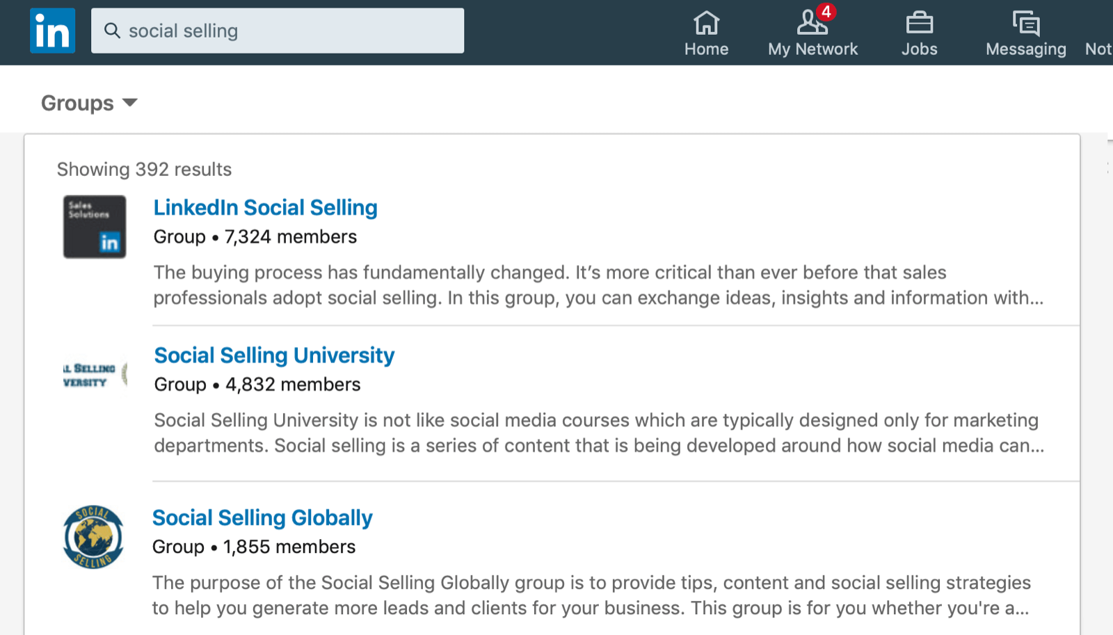 LinkedIn group page panel, showing 3 groups a user could joing relating to social selling