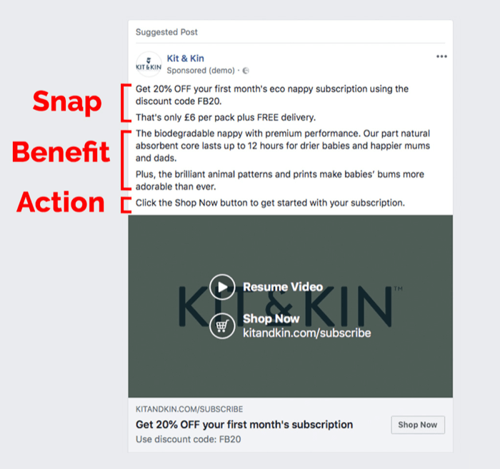 facebook ad with offer example 700 - How to Retarget Ads to Engaged Instagram and Facebook Fans