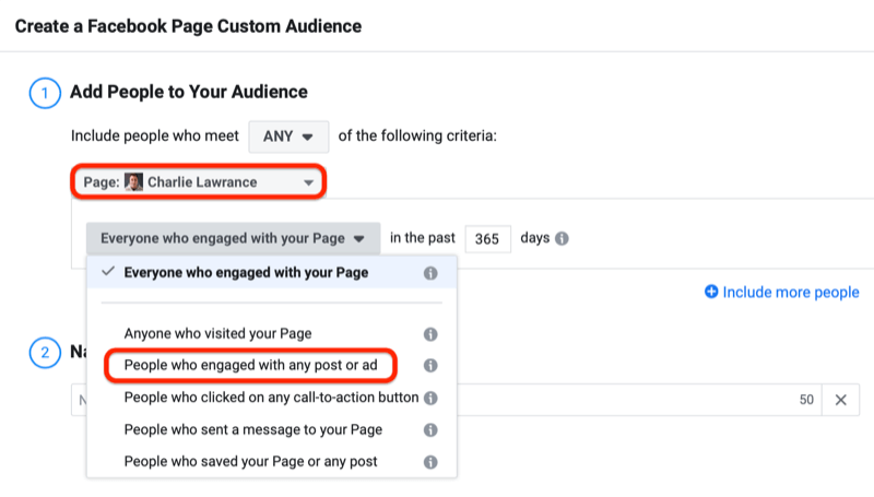 facebook how to create enagement custom audience step 3 800 - How to Retarget Ads to Engaged Instagram and Facebook Fans