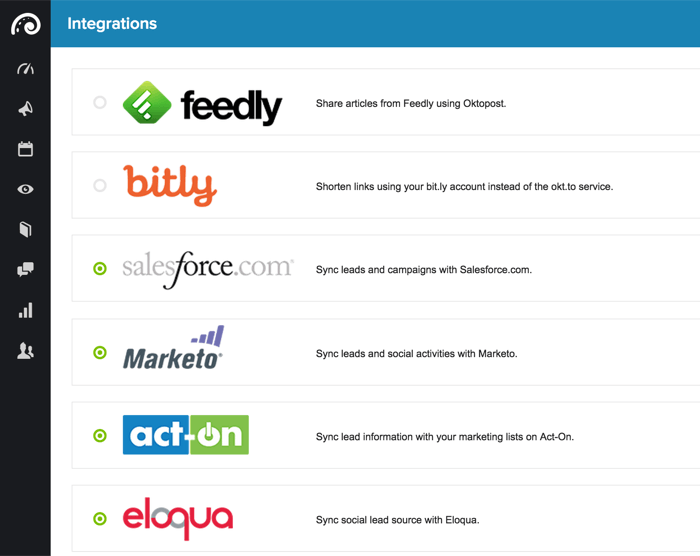 oktopost integrations list 700 - 6 Social Media Marketing Attribution Models and Tools to Help Marketers