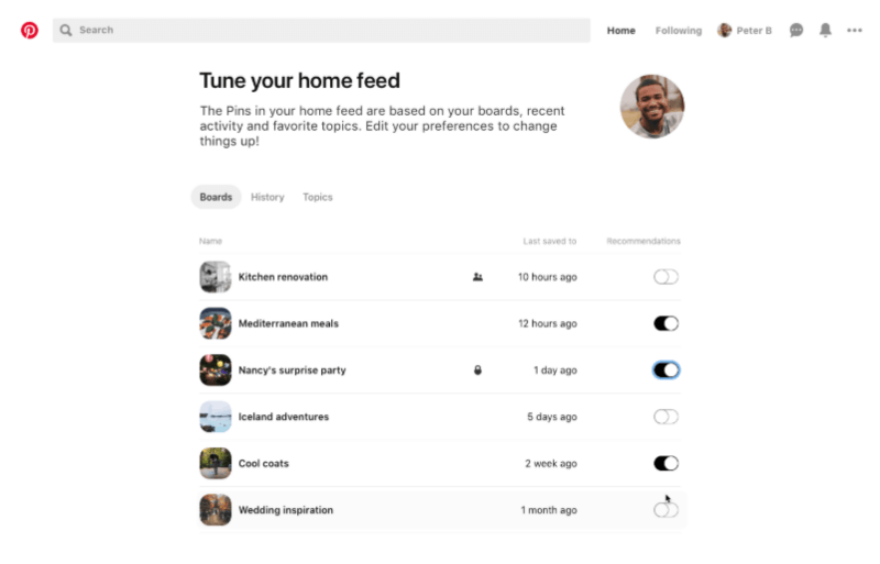 Pinterest is making it easier than ever to control the recommendations you see in your home feed with a new home feed tuner and Pin-level controls.