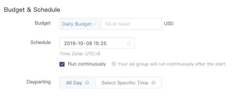 Sélection du planning de publicité TikTok Ads