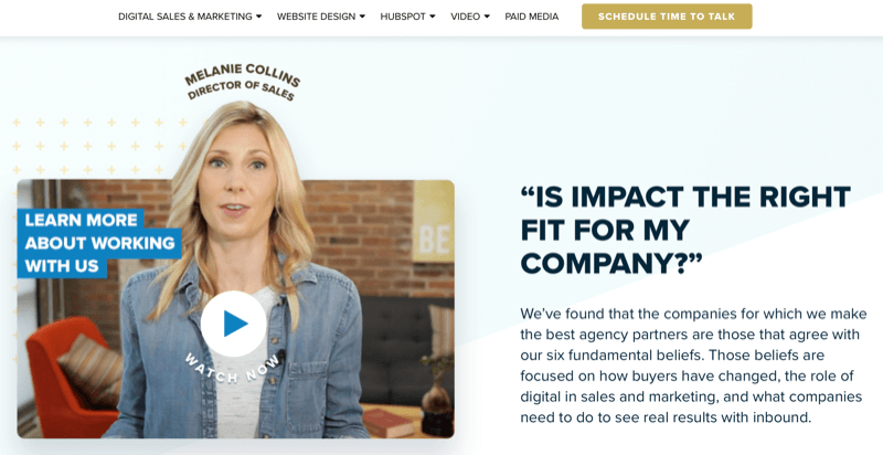 business website text and video answering prospect's question 'are we the right fit'