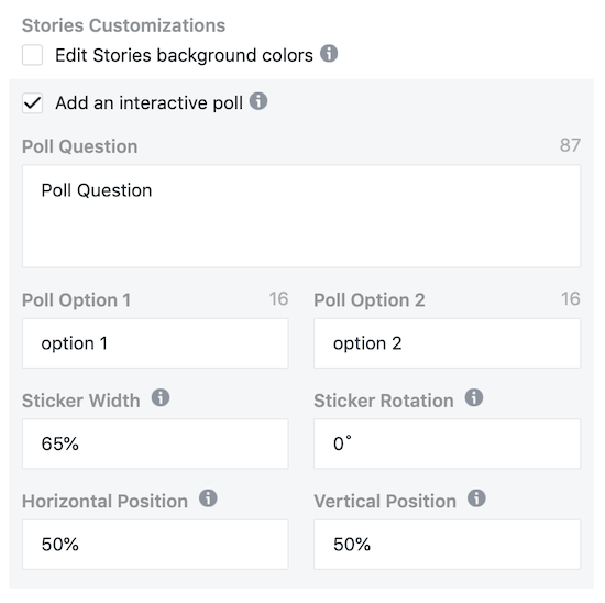 option to add interactive poll to Instagram Stories ad in Facebook Ads Manager