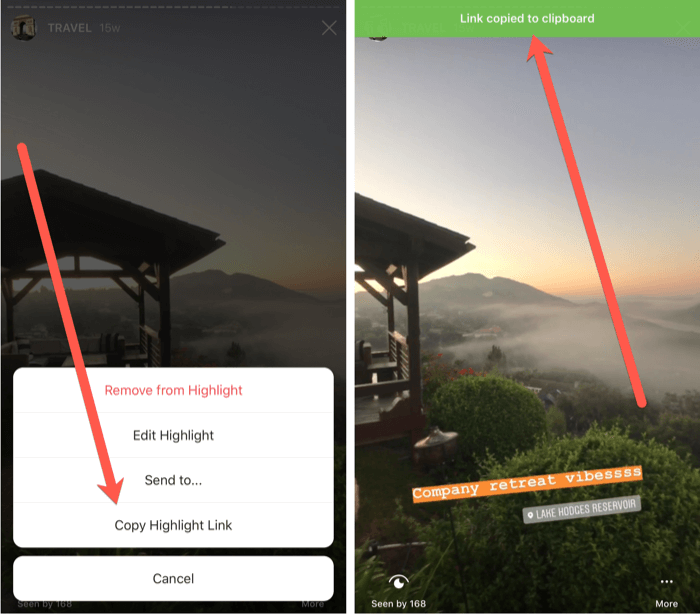 steps to copy highlight link for Instagram Stories