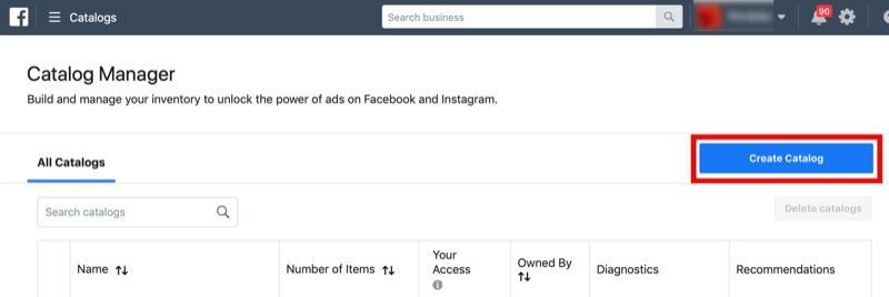 step 1 of how to create Facebook catalog for Instagram Shopping