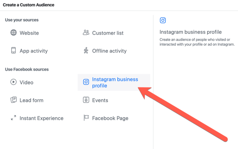 steps to create Instagram business profile engagement custom audience for live event targeting