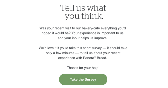example of customer survey delivered via email