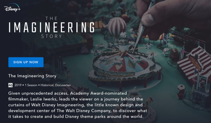 Disney+ webpage for The Imagineering Story