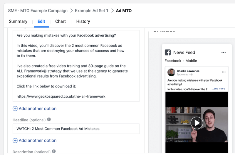 step by step walkthrough for creating a Facebook campaign with multiple text options