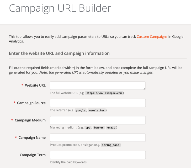 Google Analytics Campaign URL Builder tool setup screen