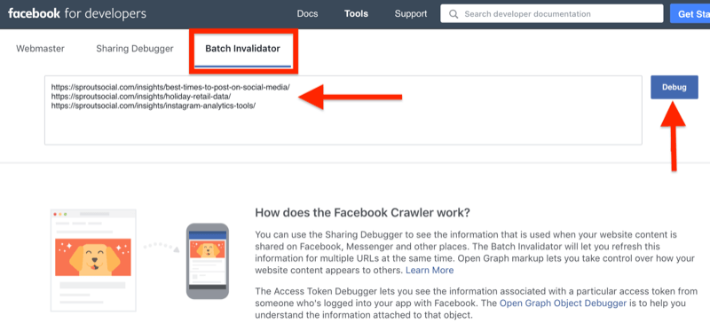 step by step walkthrough for how to clear the cache using the Facebook Batch Invalidator